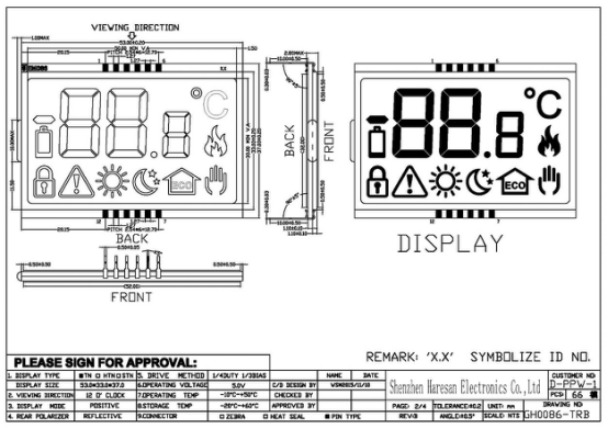 LCD Display for Heating System Home Application