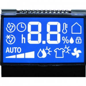 STN Negative Blue Transmissive Segment Matrix LCD Module with Backlight, +5.0V Power Supply