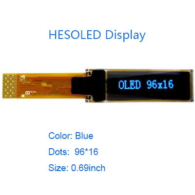 0.69 blue white oled module pmoled 96×16 wide temperature range fast response